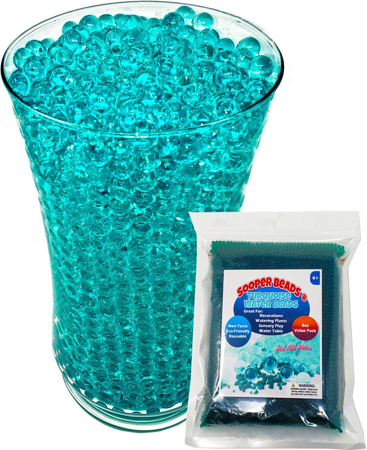 SooperBeads 20,000 Vase Filler Beads Gems Water Growing Crystal Green Turquoise Gel Pearls for Vases, Wedding Centerpiece, Floral Decoration, Plants, Kids Sensory Play Water Table Activities