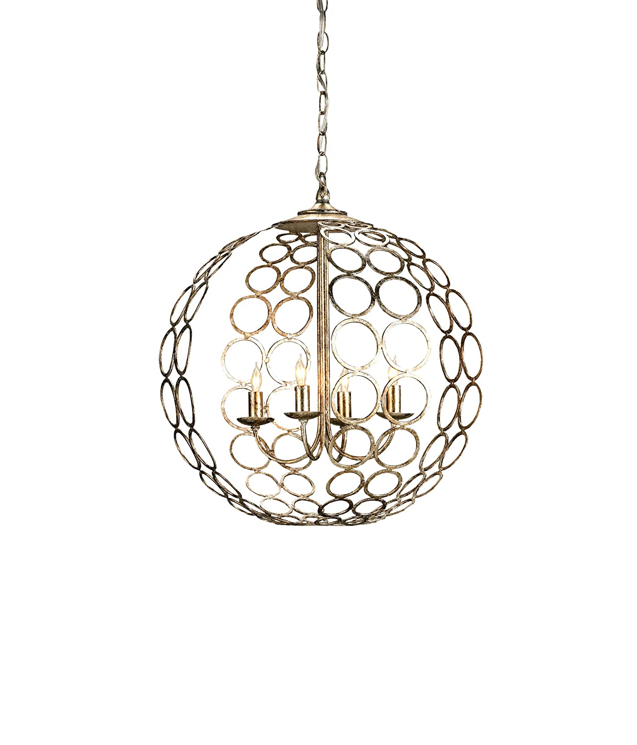Currey and pany 9961 Tartufo 4 Light Chandelier Antique Silver