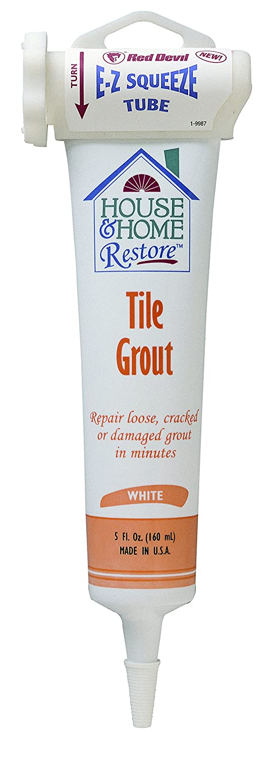 Red Devil 0438 Tile Grout, EZ Squeeze White, 5-Ounce