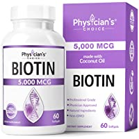 Biotin 5000 MCG - with 100% Organic Coconut Oil - Biotin Supplement to Support for...