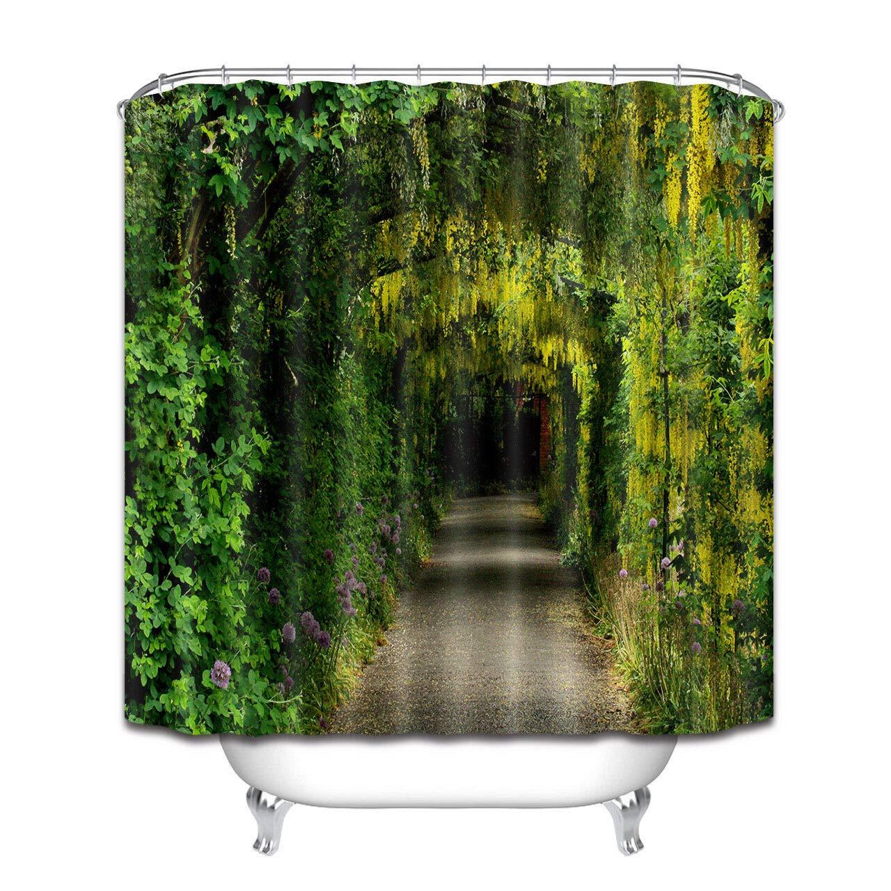 JHTRSJYTJ Mimetico Verde Tenda da Doccia Impermeabile con Stampa HD,Lavabile,Non scolorisce,180X180cm,12ganci,Decorazione del Bagno