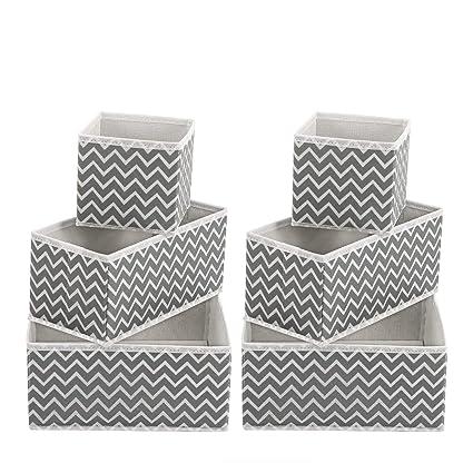 MaidMAX Cajón Organizador, Armario Organizador Foldable para Ropa Interior, Set de 6, Zigzag