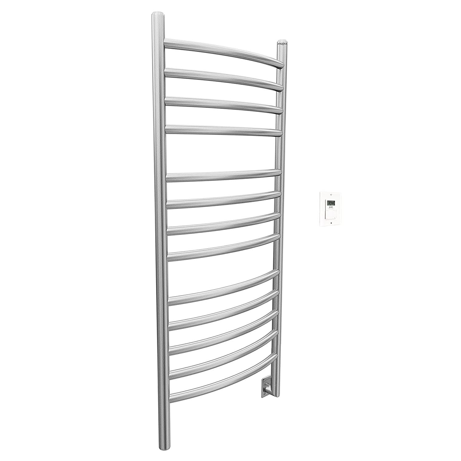 Ancona Svelte Rounded Wall Mount Electric Hardwire Timer in Brushed Chrome Towel Warmer AMS Inc AN-5423T