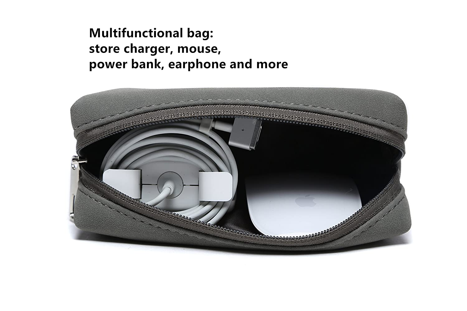 HYZUO Portable Laptop Accessory Pouch Bag Organizer Storage Carrying Case for Laptop Charger Mouse Cables Electronics Cellphone SSD HHD Matte PU Leather Dark Grey