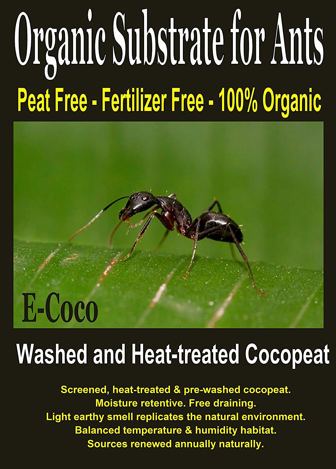 ANT FARM ORGANIC SOIL - ANT FARM SAND SUBSTITUTE, ANT GEL ALTERNATIVE, ANT BEDDING, ANT SOIL (1 LITRE) E-Coco Products UK
