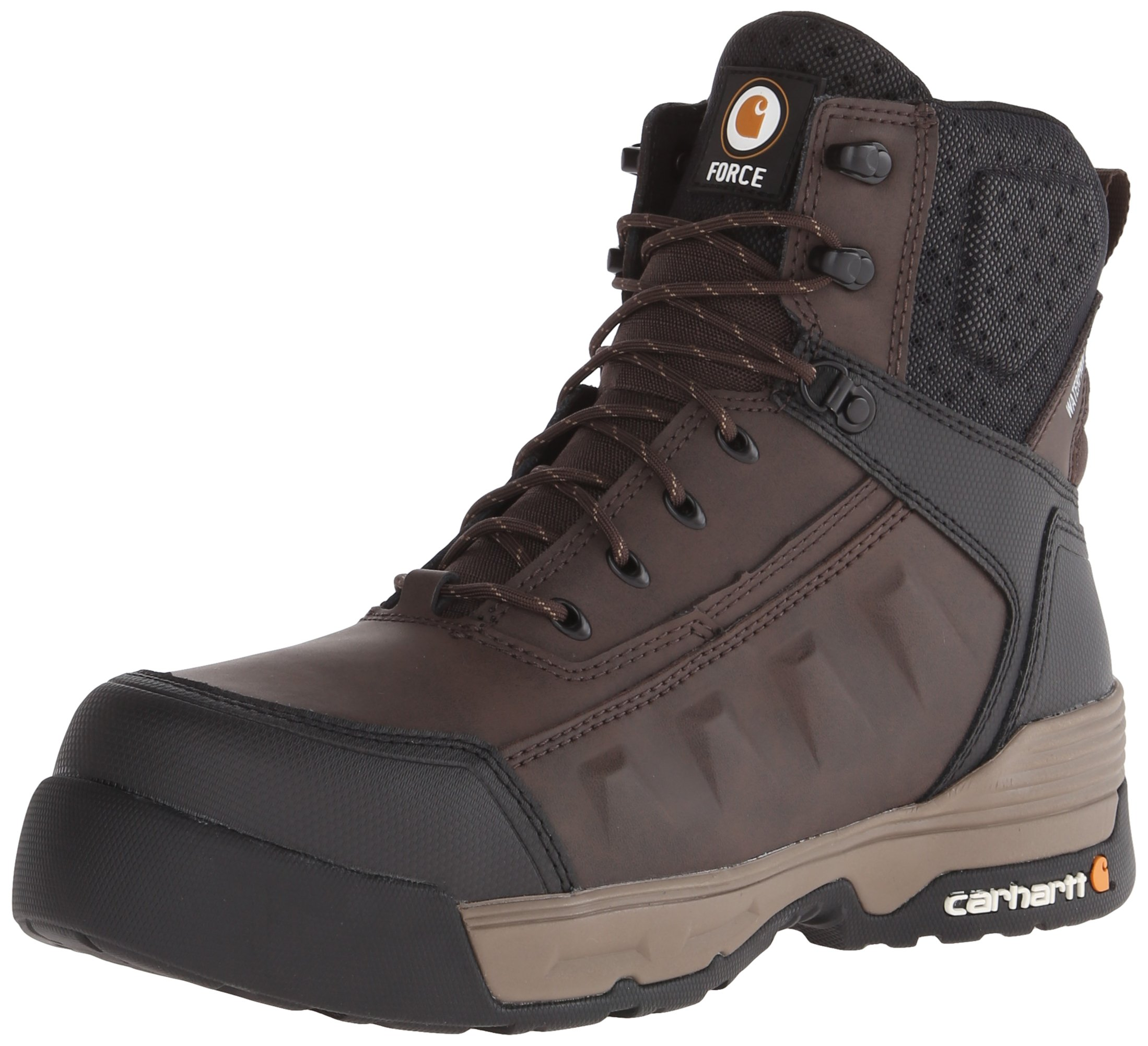 Carhartt Men's 6'' Force Lightweight Waterproof Composite Toe Work Boot CMA6346, Brown Coated Leather, 10 W US