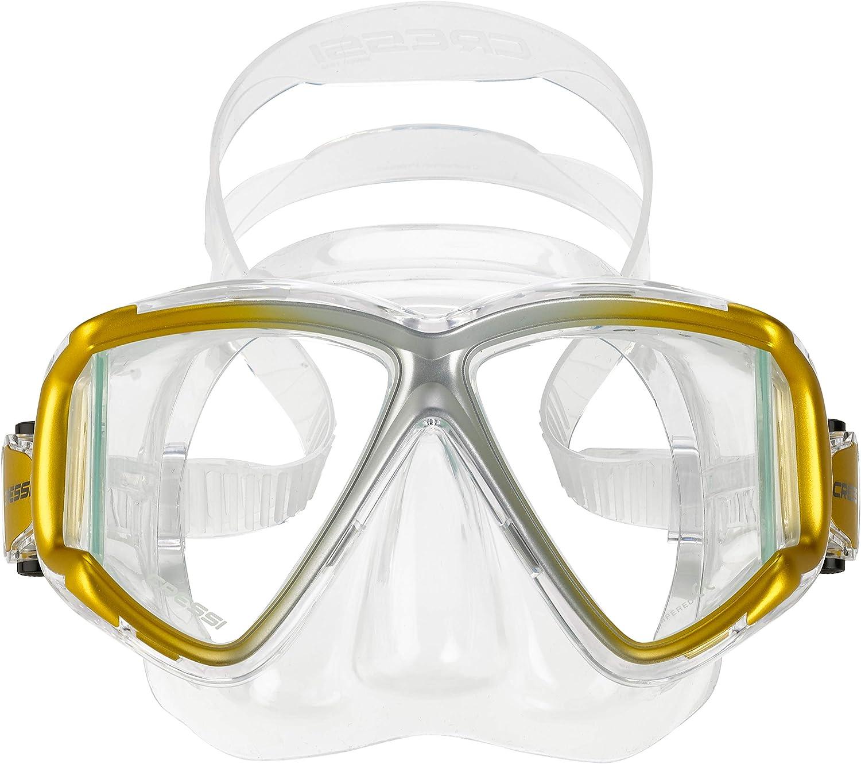 Cressi Italian Designed Liberty Quattro Panoramic View Tempered Glass Lens Premium Scuba Snorkeling Mask