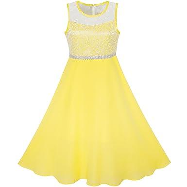 3349340369054 Sunny Fashion Robe Fille Jaune Mousseline de Soie Demoiselle d'honneur  Danse Balle Maxi Robe