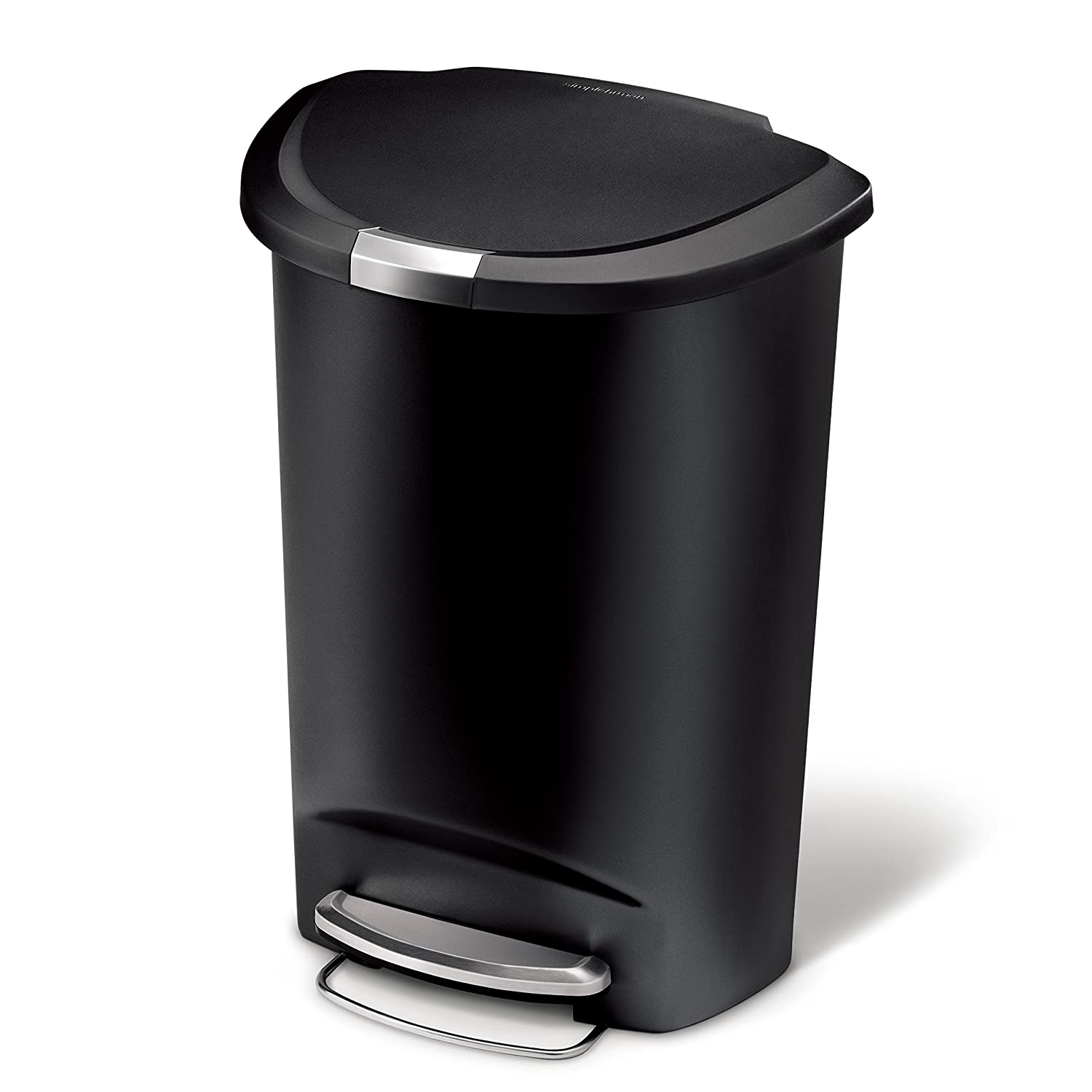 simplehuman Semi-Round Step Trash Can, Black Plastic, 50 L / 13 Gal