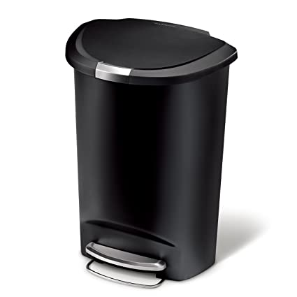 Attirant Simplehuman 50 Liter / 13 Gallon Semi Round Kitchen Step Trash Can, Black  Plastic
