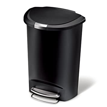 Simplehuman Semi Round Step Trash Can, Black Plastic, 50 L / 13 Gal