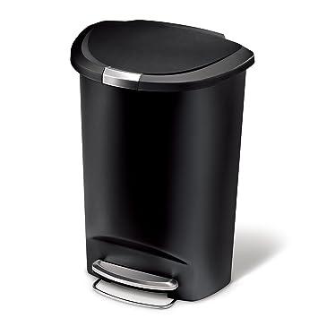Amazon.com: simplehuman Semi-Round Step Trash Can, Black Plastic ...