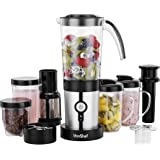 VonShef 4 in 1 Multifunctional 1.5L Blender, 1L Smoothie Maker, Juicer, Grinder & Cups  Silver