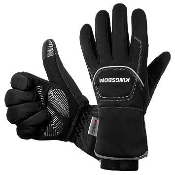 KINGSBOM Wasserdichte & Winddichte Handschuhe – 3M Thinsulate Winter Touch Screen Warme Handschuhe – zum Radfahren, Reiten, Laufen, für Outdoor Sport