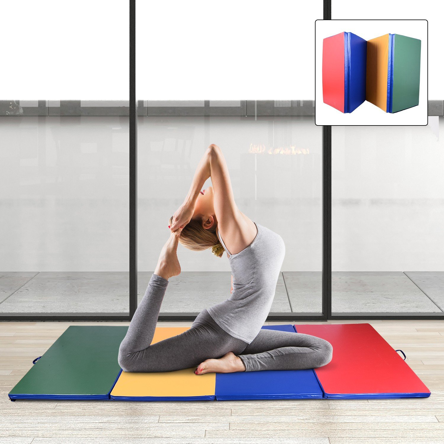 Multicolor Gymnastics Mat 4' x 10' x 2'' Martial Arts Aerobics Exercise Yoga Tumbling Pad With Ebook by MRT SUPPLY