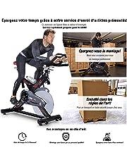Vélo d'Appartement ergomètre SX400 avec Commande par Application Smartphone, Poids d'inertie 22 KG, Supports pour Bras, cardiofréquencemètre, Vélo de cardiotraining