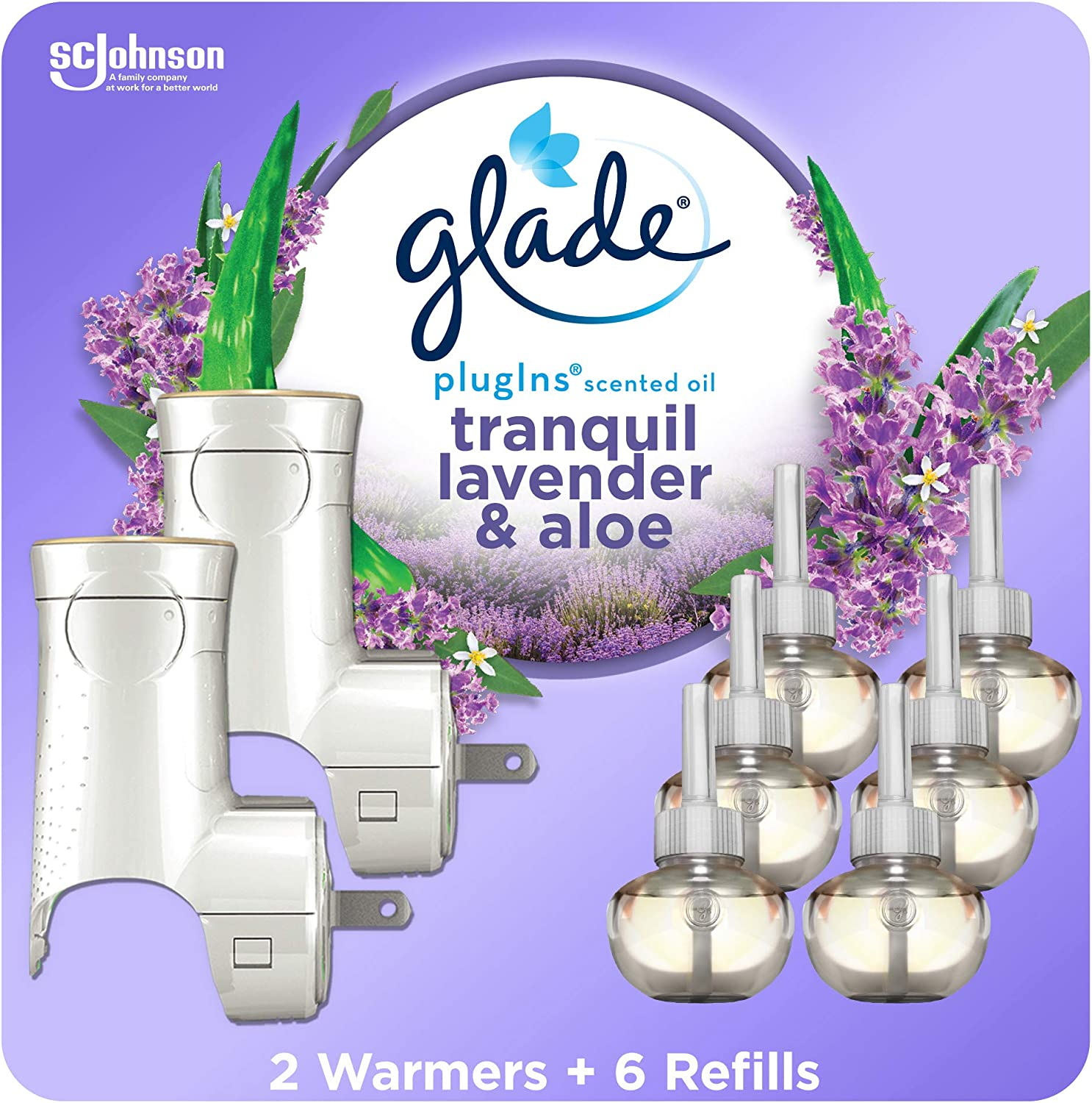 Glade PlugIns Refills Air Freshener Starter Kit, Scented and Essential Oils for Home and Bathroom, Tranquil Lavender & Aloe, 4.02 Fl Oz, 2 Warmers + 6 Refills