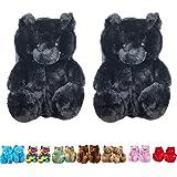 YSGE Women Cute Animal Plush Teddy Bear Slippers Indoor Home, Black