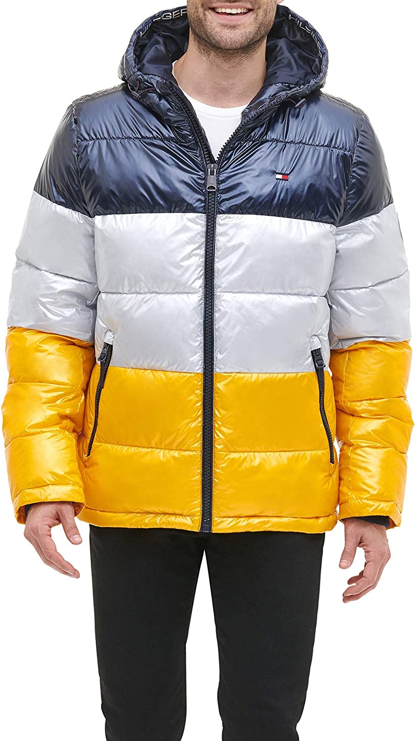 Regular and Big /& Tall Sizes Tommy Hilfiger Mens Classic Hooded Puffer Jacket Down Alternative Coat