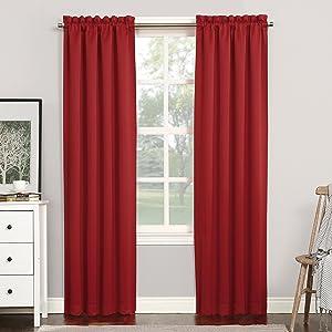 "Sun Zero 51748 Easton Blackout Energy Efficient Rod Pocket Curtain Panel, 40"" x 84"", Red"