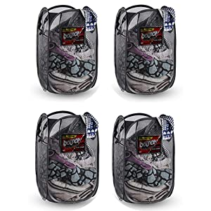 NYHI Foldable Pop-Up Mesh Hamper, Laundry Hamper with Reinforced Carry Handles Rectangle, Black (4)