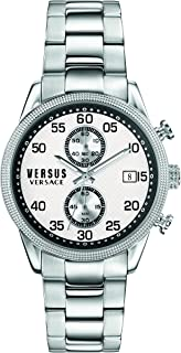 Versus by Versace Mens Shoreditch Quartz Watch with Stainless-Steel Strap, Silver (Model