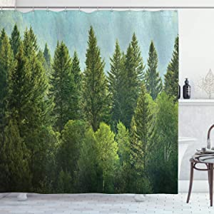 Ambesonne Nature Shower Curtain, Forest Pine Tree Tops Refreshing Eco Woodland Wilderness Mountainside Landscape Print, Cloth Fabric Bathroom Decor Set with Hooks, 75