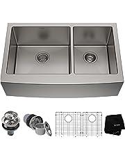 Kraus KHF203-36 36 inch Farmhouse Apron 60/40 Double Bowl 16 Gauge Stainless Steel Kitchen Sink