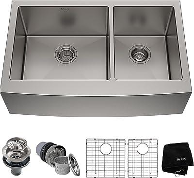 "Kraus KHF203-36 Standart PRO Kitchen Stainless Steel Sink, 35.88"", 36 Inch Round Apron 60/40 Double Dowl"