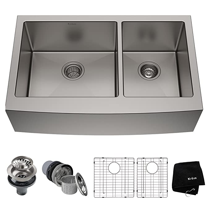 Best Double Bowl Kitchen Sinks: Kraus KHF203-33 33 inch Farmhouse Apron Stainless Steel Kitchen Sink