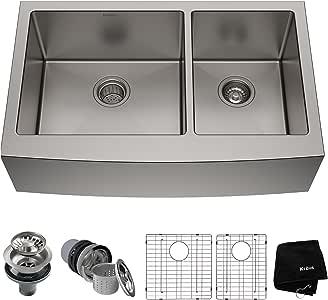 Kraus KHF203-36 Standart PRO Kitchen Stainless Steel Sink, 36 Inch Round Apron 60/40 Double Bowl