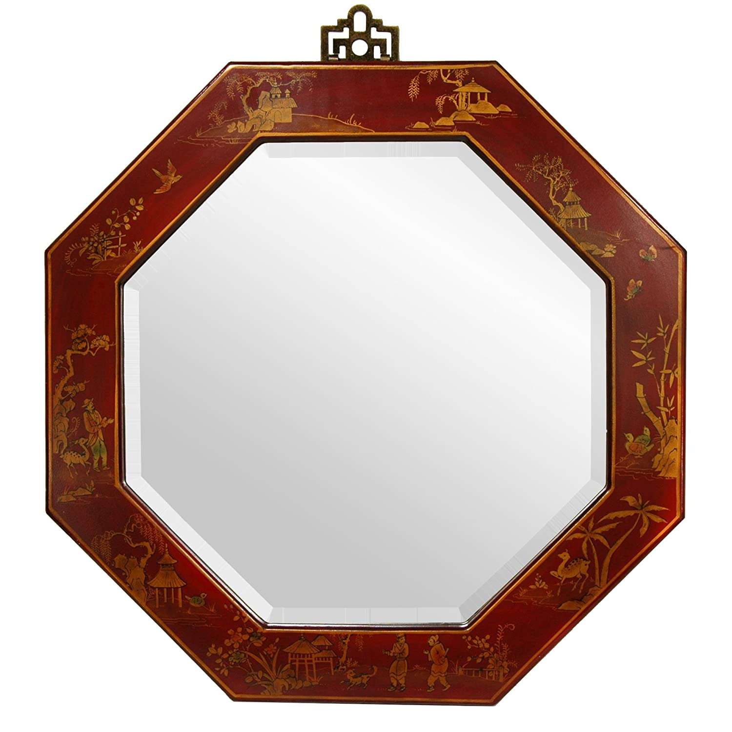Amazon oriental furniture red lacquer octagonal mirror home amazon oriental furniture red lacquer octagonal mirror home kitchen amipublicfo Choice Image