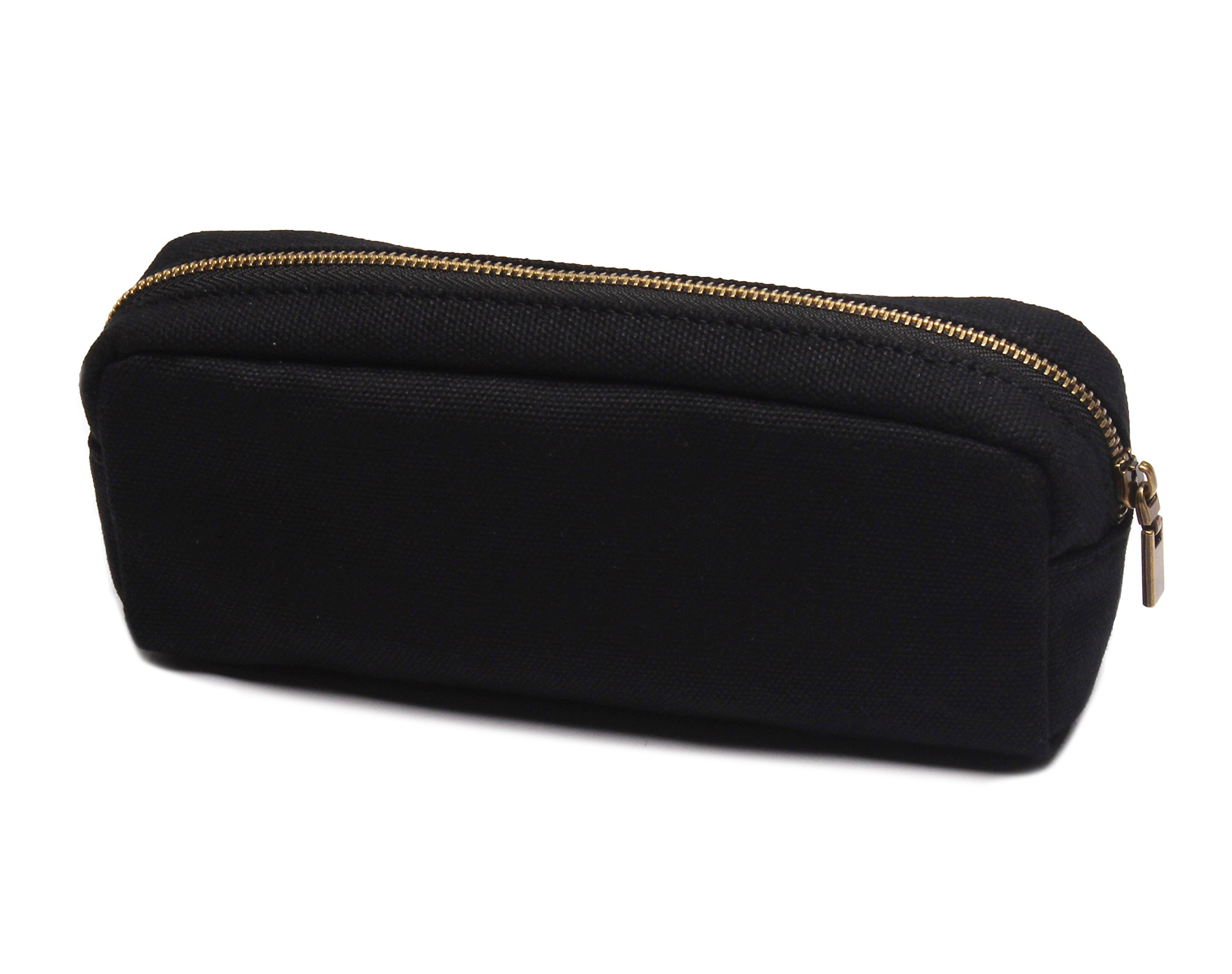 Karitco Plain Canvas Pencil Case with Brass Zipper 7.3 x 3 Inch (Classic Black)