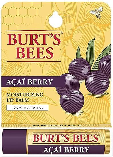 Burts Bees 100% Natural Moisturizing Lip Balm, Acai Berry 0.15 oz (Pack of 6) Arganicare Firming Night Cream - 2 Pack