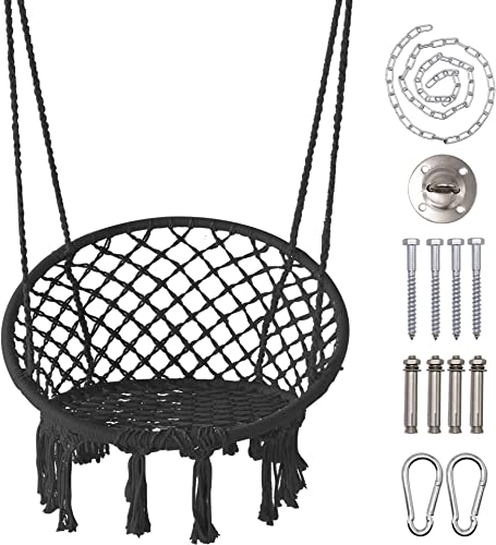 LAZZO Round Hammock Chair Hanging Knitted Mesh Cotton Rope Macrame Swing, 260 Pounds Capacity, 23.6 Seat Width,for Bedroom, Outdoors, Garden, Patio, Yard. Child, Girl, Adult Black