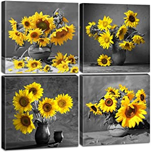 Sunflower Wall Art Rustic Decor Yellow Paintings Modern Black and White Pastoral Scenery Floral Canvas Artwork Farmhouse Country Decorations Pictures for the Home Bedroom Living Room StretchedandFramedReadytoHang 12X12 Inch 4 Panels