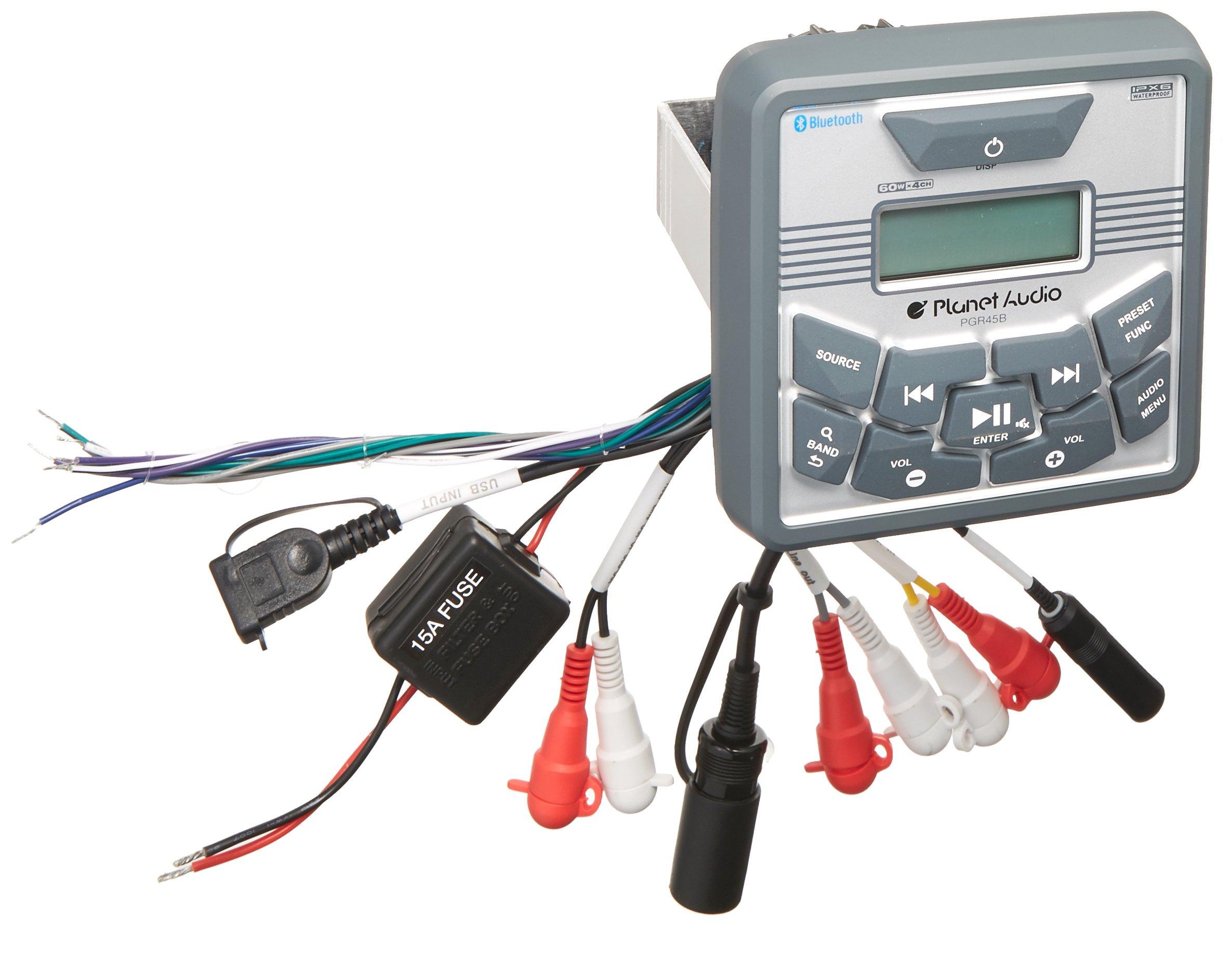 Planet Audio PGR45B Marine Receiver - Bluetooth, Marine Grade IPX6 Waterproof, MP3 USB Digital Media Player, Nod CD DVD, AM FM Radio, Built-in 4 Channel Amplifier