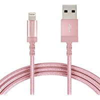 AmazonBasics Nylon Braided USB A to Lightning Compatible Cable - Apple MFi Certified - Rose Gold (6 Feet/1.8 Meter)