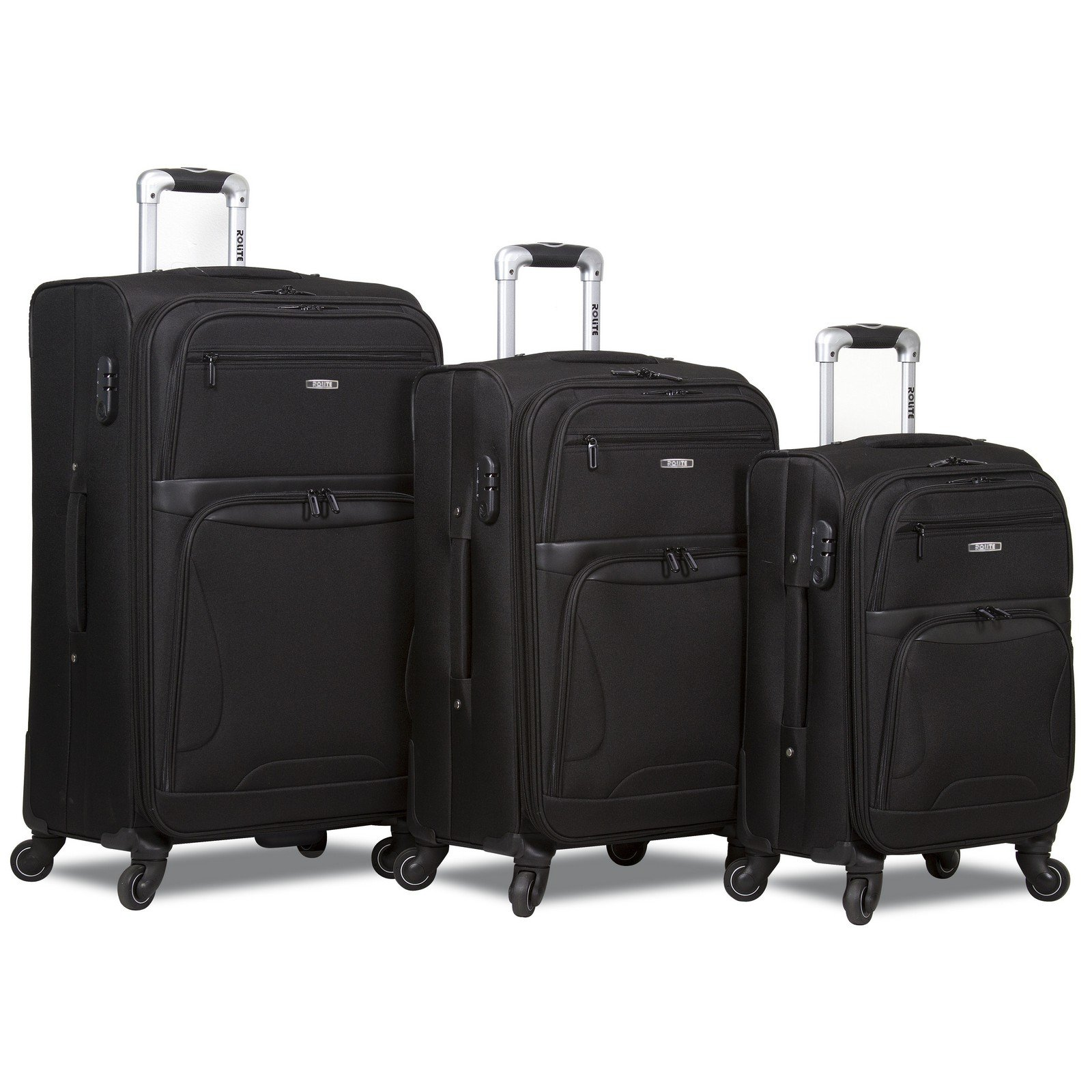 Rolite Explorer 3-Piece Expandable Spinner Luggage Set, Black
