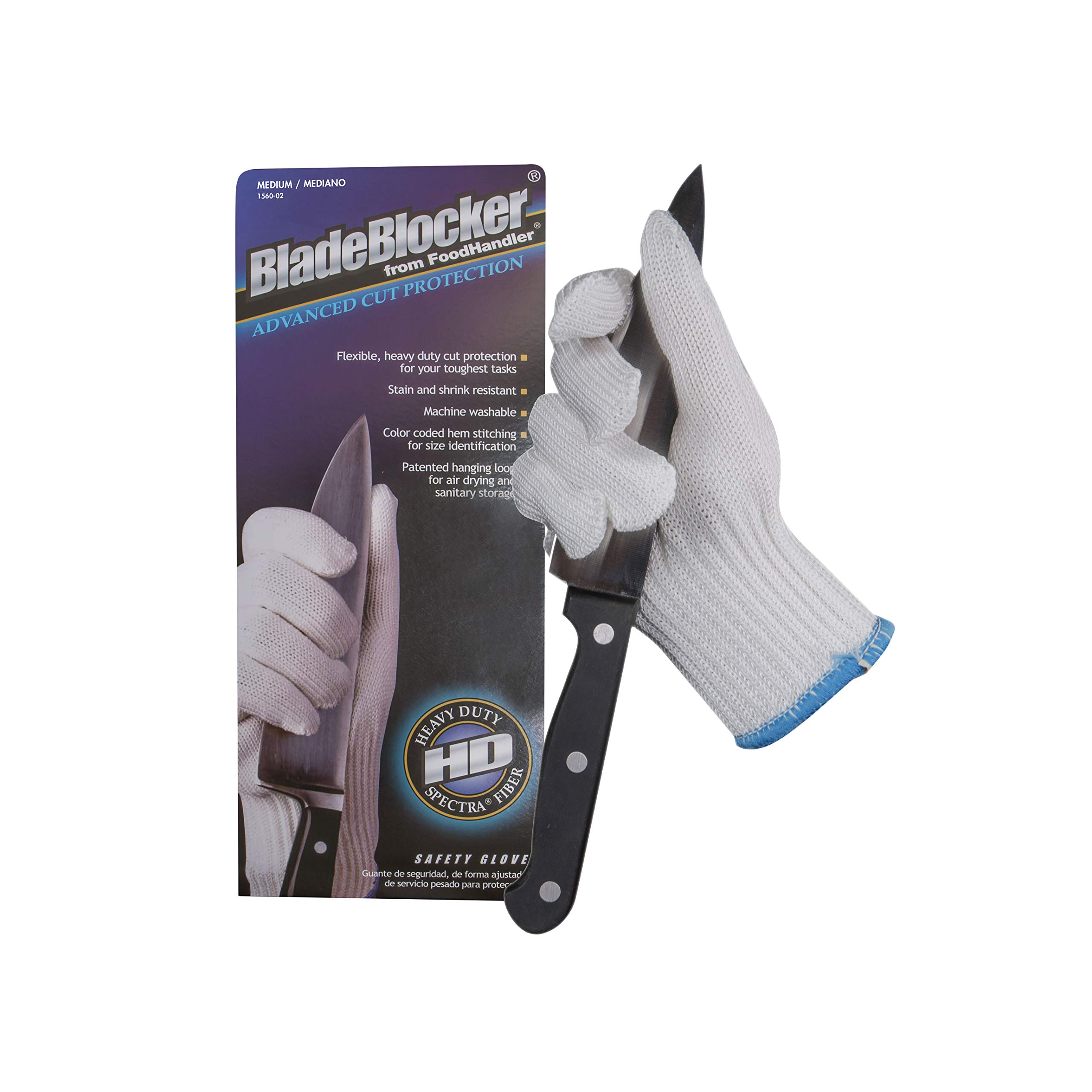 FoodHandler 1560-02 FoodHandler BladeBlocker Cut Protection, Spectra Fiber, MD, White (Pack of 12)