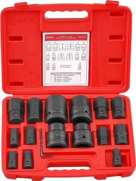"Metric Hex Bit Sockets 16mm to 36mm Genius Tools 1/"" Dr"