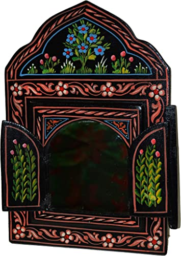 Moroccan Wall Mirror with Doors Hand Painted Arabesque Handmade Decor Small