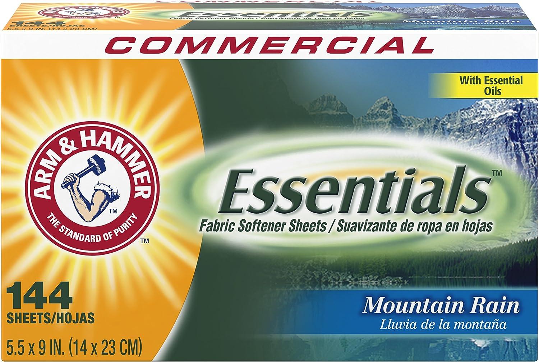 Arm & Hammer 3320000102 Essentials Dryer Sheets Mountain Rain 144 Sheets/Box 6 Boxes/Carton