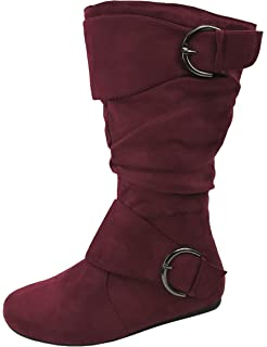 30b94025a70cc Amazon.com | Generation19 Girls Faux Suede Two Buckle Mid Calf Boots ...