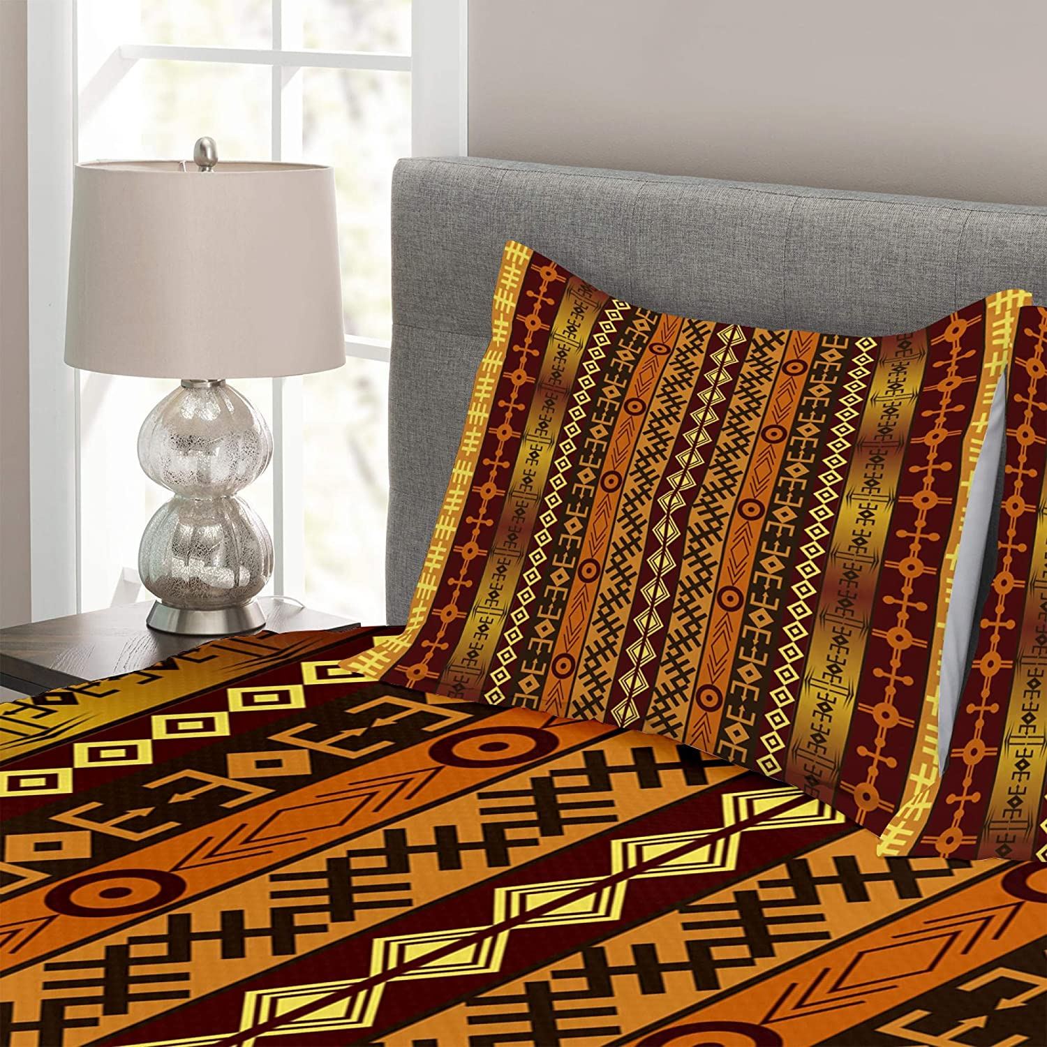 Decorative Quilted 3 Piece Bedspread Set with 2 Pillow Shams Lunarable Mexican Coverlet Set King Size Abstract Vibrant Vintage Aztec Motif Gradient Blurred Lines Ecuador Crafts Image Multicolor bed/_20618/_king