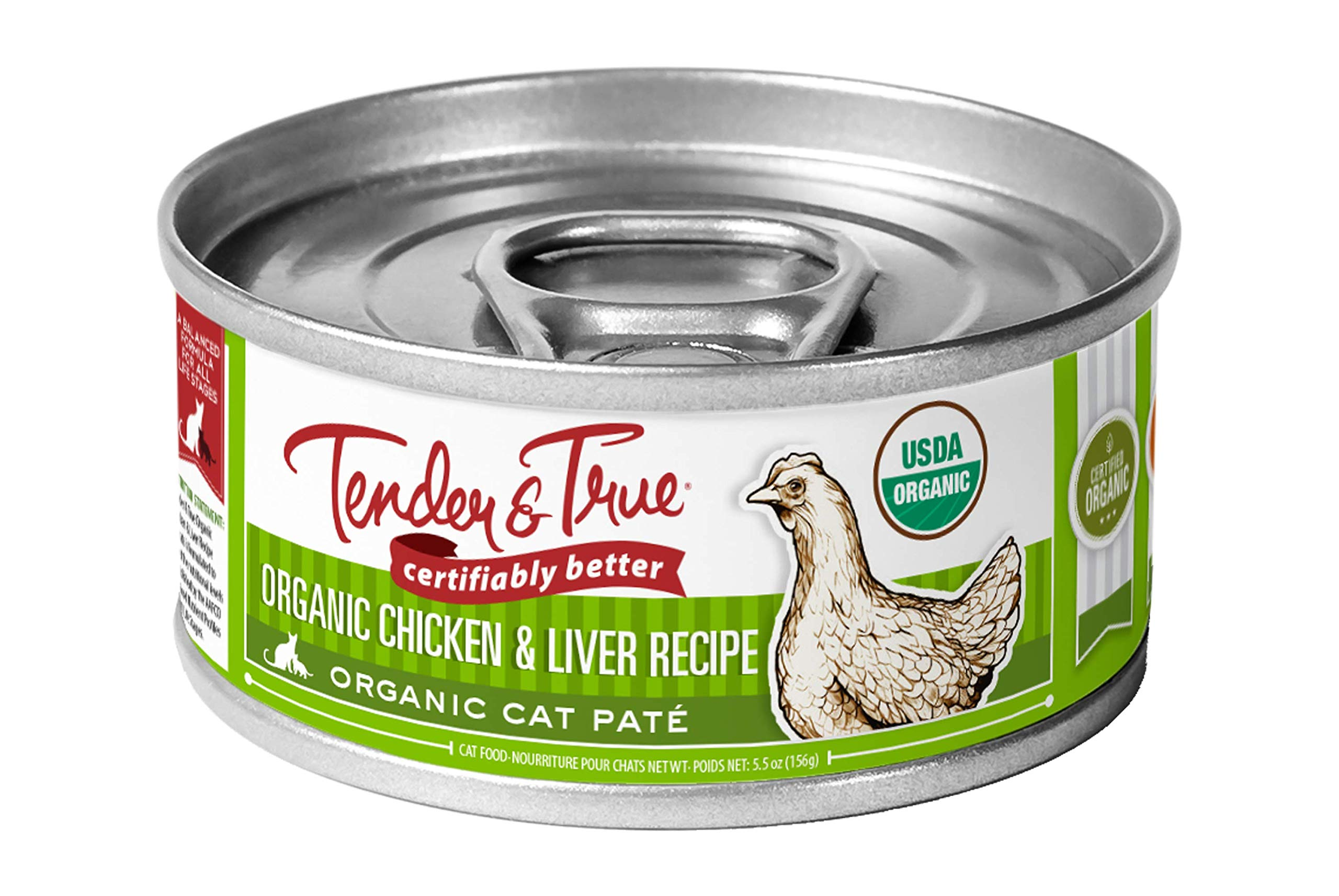 Tender & True Organic Chicken & Liver Recipe Canned Cat Food, 5.5 oz, Case of 24 by Tender & True Pet Nutrition