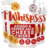 Whisps Asiago & Pepper Jack Cheese Crisps | Keto Snack, Spicy Snack, No Gluten, No Sugar, Low Carb, High Protein | 2.12oz (4 pack)