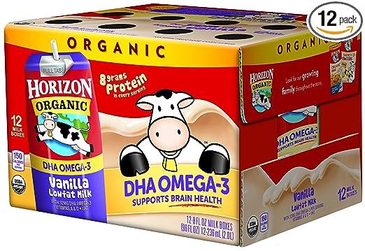 Horizon Organic Low Fat Organic Milk Box Plus DHA Omega-3, Vanilla, 8 Ounce (Pack of 12)