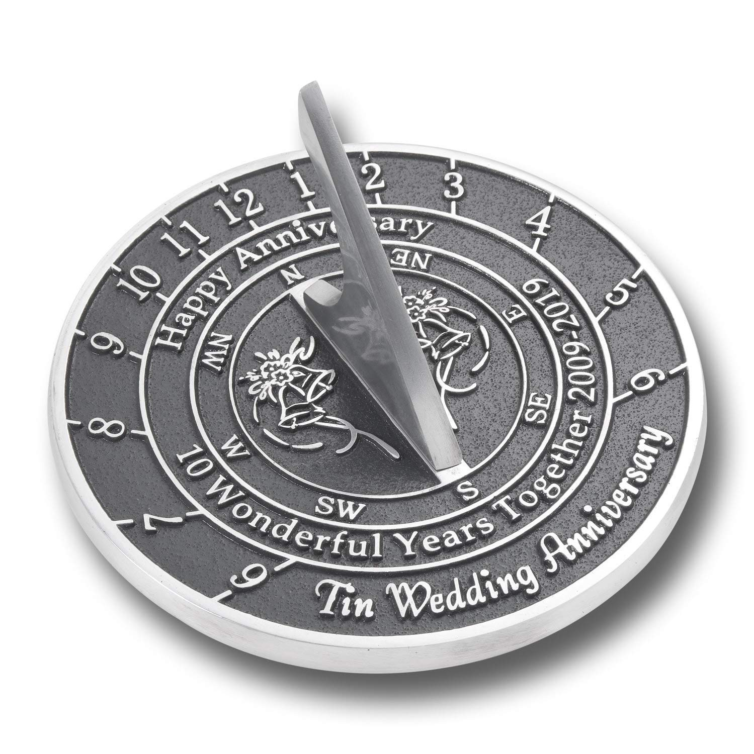 ANTIQUECOLLECTION 10th Tin Wedding Anniversary Sundial Gift