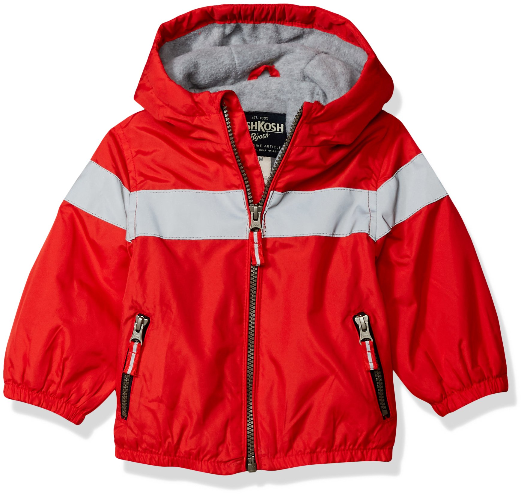 Osh Kosh Baby Boys Midweight Active Fleece Lined Jacket, red, 12M by OshKosh B'Gosh